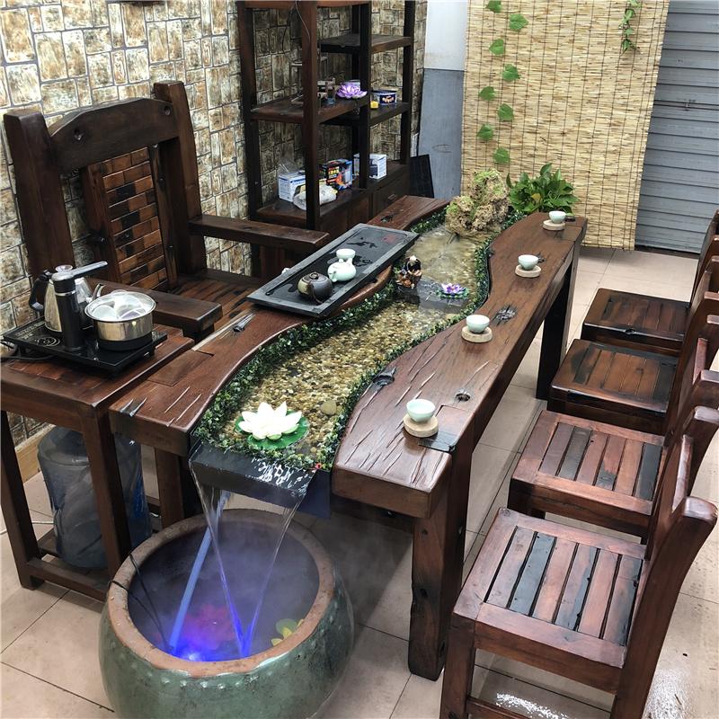 老船木茶流水组合新中式养鱼实木茶几泡茶台桌椅循环客厅仿古阳台