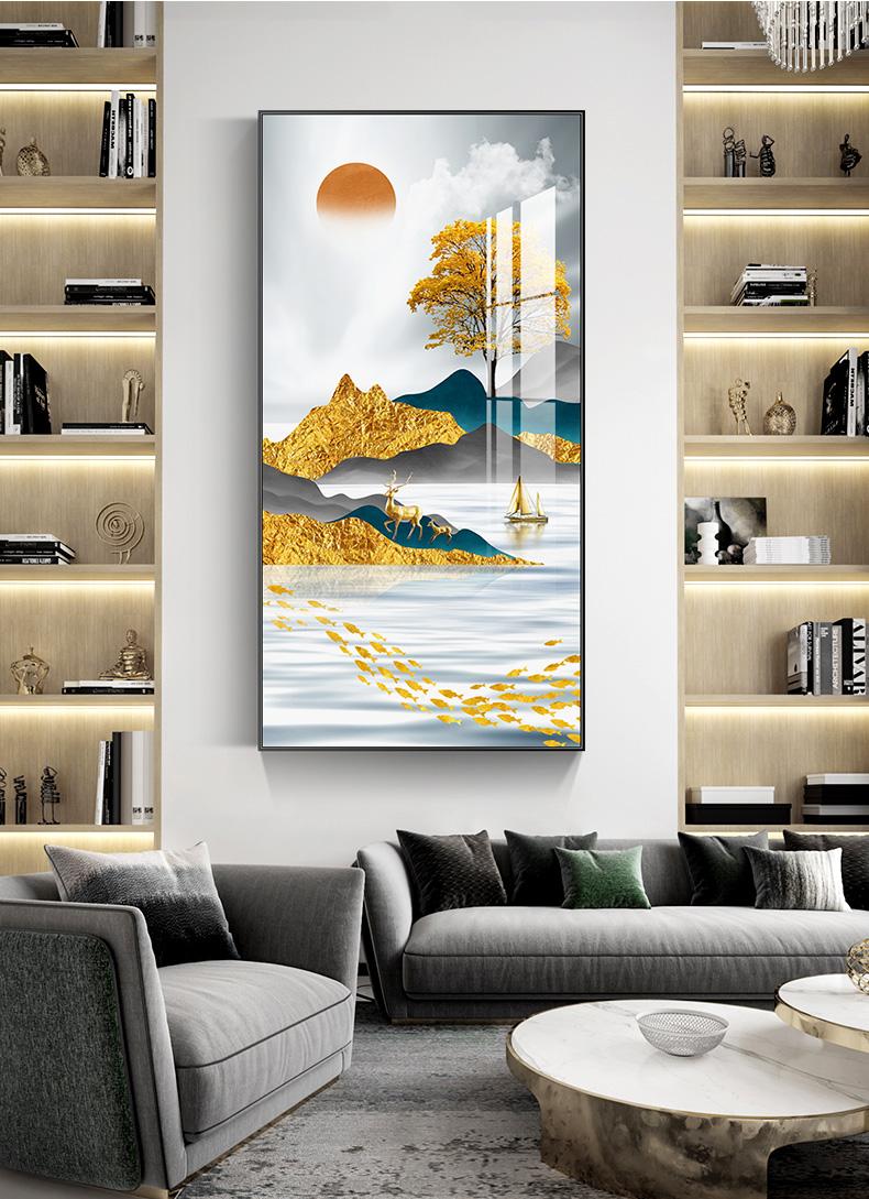 北欧入户玄关抽象装饰画现代轻奢竖版大气墙挂画走廊过道壁画楼梯详细照片