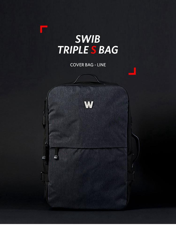 15寸电脑包男士超大双肩包商务手提背包韩国代购swib出差书包正品