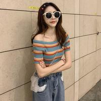Лето корейская версия винтаж тонкий стиль цвет радуга полосатый принт трикотажный Рубашка 2019 новая коллекция короткий рукав слово воротник приталенный Женская одежда верх одежда