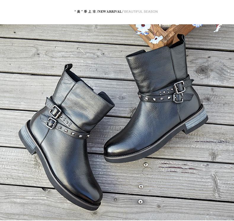 奥康女鞋 春秋新款 牛皮保暖加绒女靴侧拉链铆钉皮带扣短靴高清展示图 5