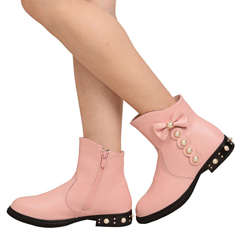 咪咪猴童鞋冬季新款女童靴子真牛皮女童短靴蝴蝶结公主皮棉靴清仓