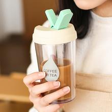 创意吸管杯双层奶茶咖啡随手杯