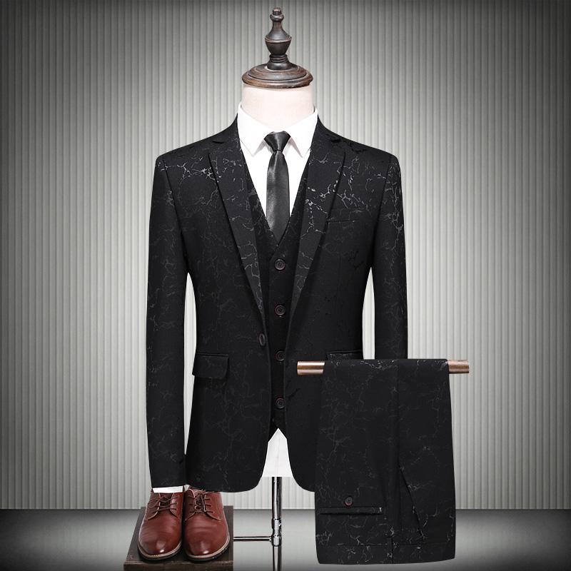 西服春装提花男士三件套韩版修身冰裂纹流行休闲礼服西装结婚套装