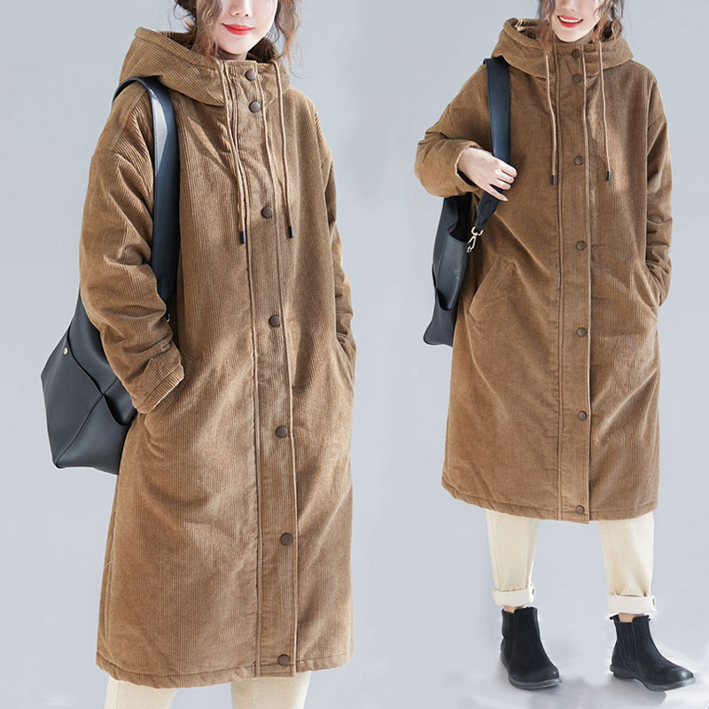 布海冬季长款棉服女中长款过膝灯芯绒加厚棉袄宽松连帽大码棉衣