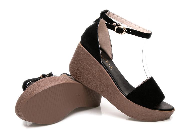 รองเท้าส้นตึกหนังกลับ แฟชั่นเกาหลีส้นเตารีดมีสายรัดข้อเท้า นำเข้าไซส์33ถึง43 สีดำ - พรีออเดอร์RB2404 ราคา1850บาท