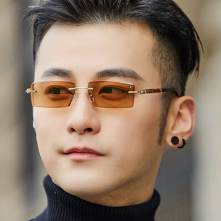 Rimless color-changing glasses men's anti-blue light cut edge diamond sunglasses sunglasses myopia flat light anti-ultraviolet 88025