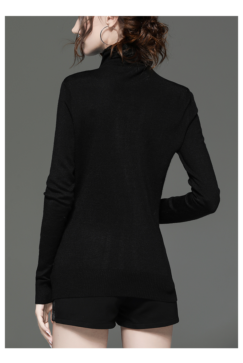高领毛衣新款女士百搭针织衫镶钻长袖洋派黑色打底衫秋冬上衣详细照片