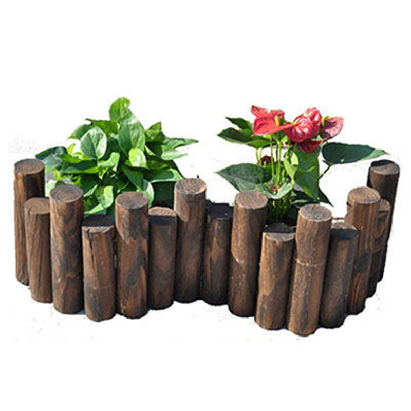 Round Wood Carbide Wood Fence Wood Fence Outdoor Flower Bed Garden