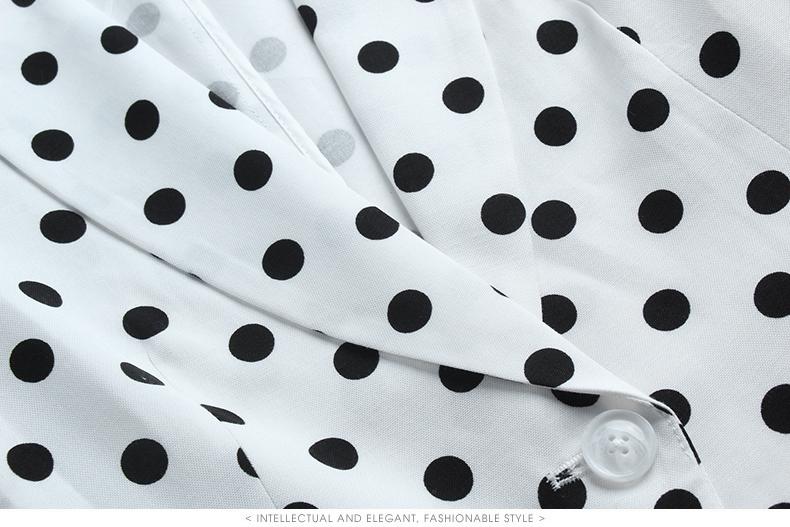 海青蓝时尚波点七分袖网红小西装2020春新款复古小众女外套17381商品详情图
