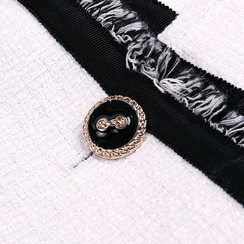 海青蓝2017秋季女装新款百搭时尚白色长袖外套气质半身裙套装3893