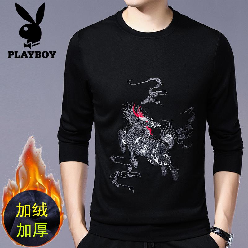 品牌加绒加厚长袖T恤男士无帽土刺绣卫衣潮秋冬季休闲保暖上衣服