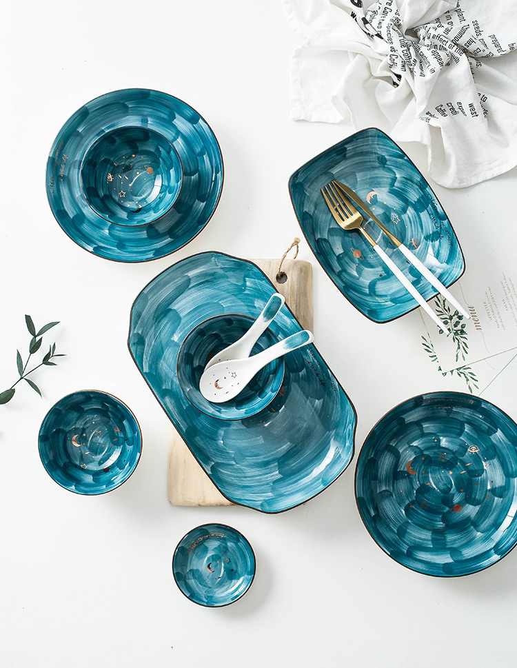 (免運)INS網紅星空陶瓷碗碟套裝可愛家用手繪創意個性飯碗大碗湯碗面碗
