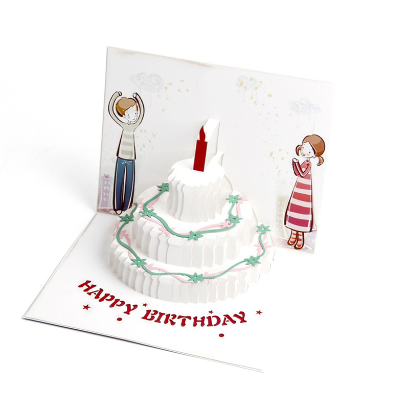 Creative Birthday Gift Color Cake Greeting Card 3d Three Dimensional Staff To Send