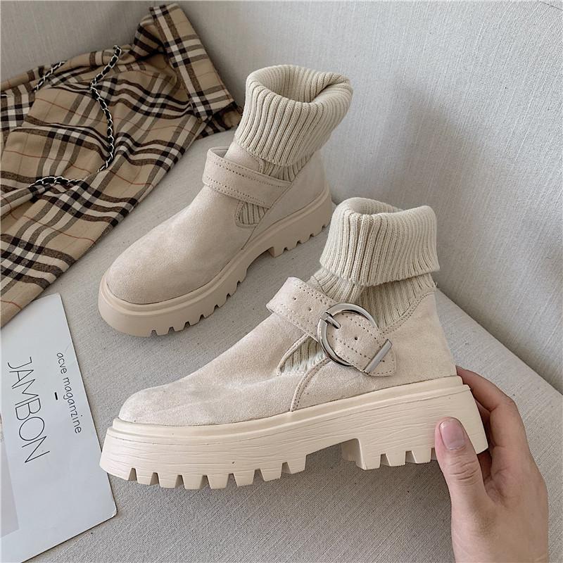 Мартин сапоги женщина 2019 осенью новый корейский моды чистый в красном трубка толстая тонкий тонкий ботинок дикий британская мода ботинки волна 603137598146