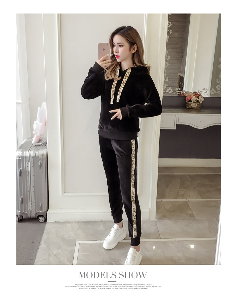 Plus plush plus thick gold velvet sports suit women's 2020 autumn/winter new loose hooded casual wear two-piece set tide 58 Online shopping Bangladesh