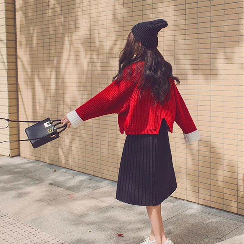 2018新款秋冬季韩版小清新秋季上衣学生毛衣配裙子两件套装女时尚