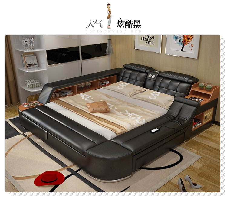 Multifunctional Tatami Bed Leather Bed Smart Massage Modern Minimalist Double Beds Bed 1 8 M