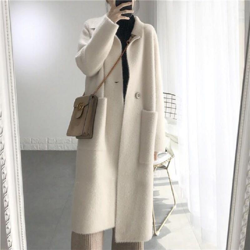 韩国网红款慵懒风中长款大衣绒气质女口袋大外套水貂双面针织开衫