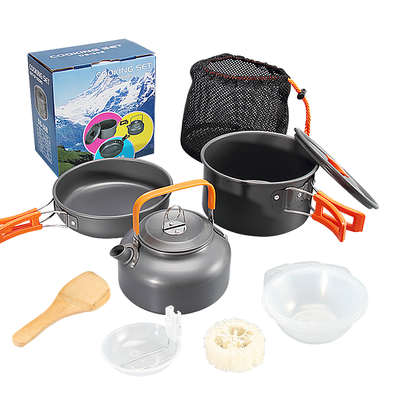 Outdoor 1-2-3 people set pot portable stove pot combination Picnic stove set pot multi-functional cooker without pot.