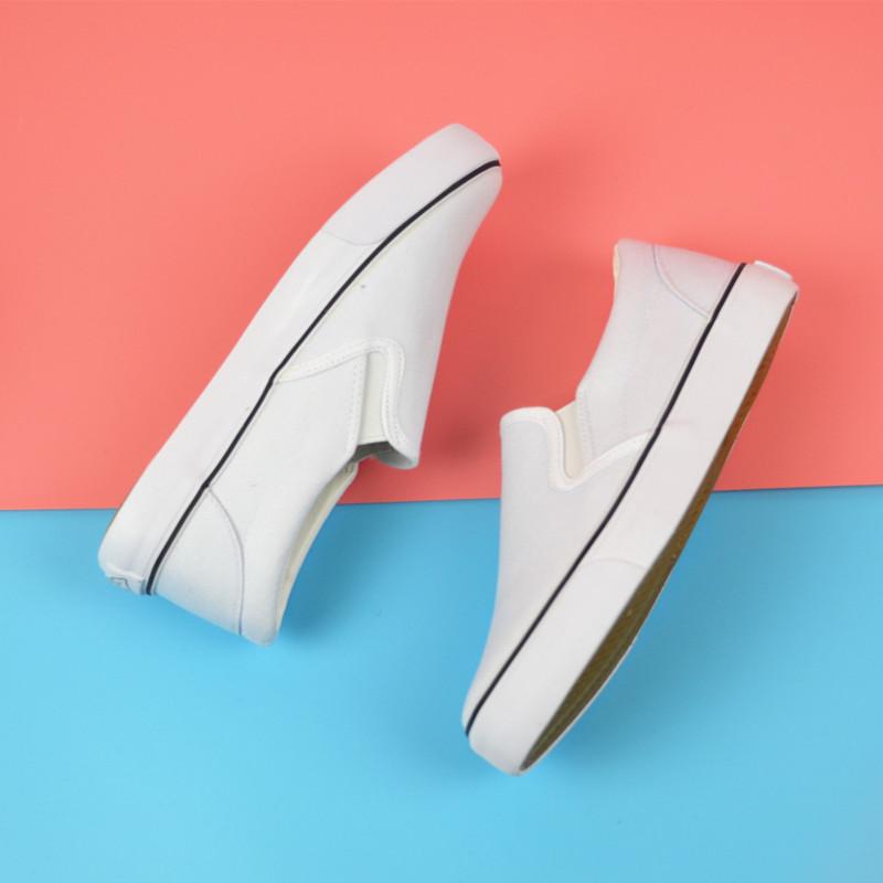 透气热销步祥正品韩版手绘帆布鞋男女款低帮懒人一脚蹬小清新白鞋