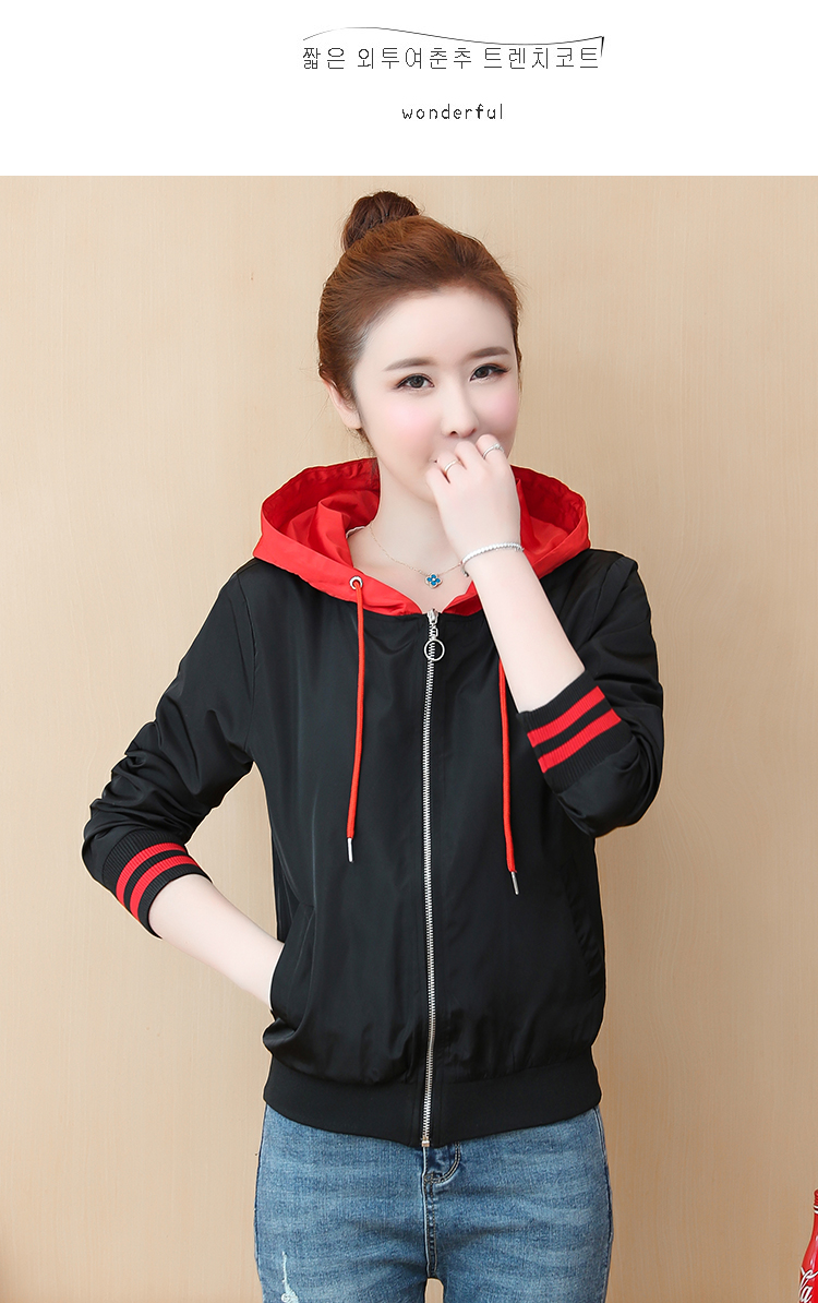 Casual hooded short jacket lady a hundred with spring and autumn 2020 new zip jacket clothes small 57 Online shopping Bangladesh