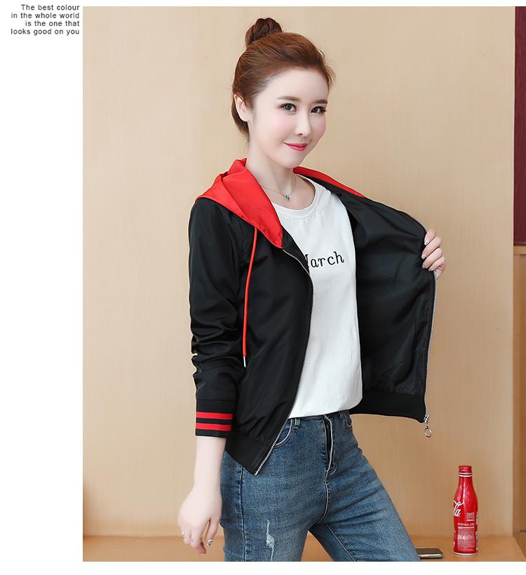 Casual hooded short jacket lady a hundred with spring and autumn 2020 new zip jacket clothes small 54 Online shopping Bangladesh