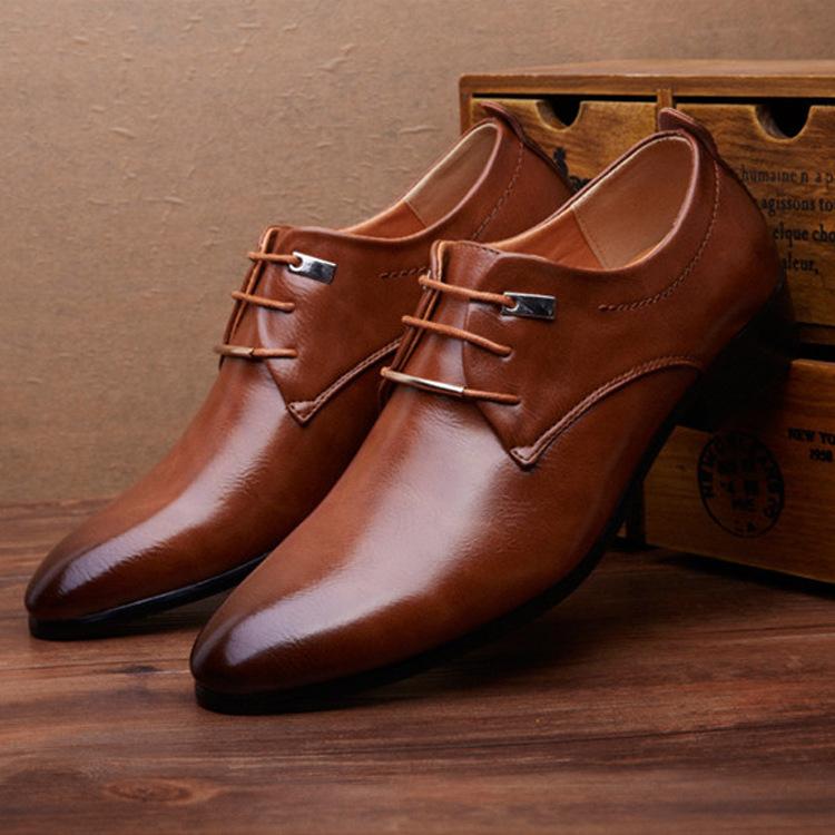 Men Leather Shoes Man Business Casual Dress Shoes 男商务皮鞋