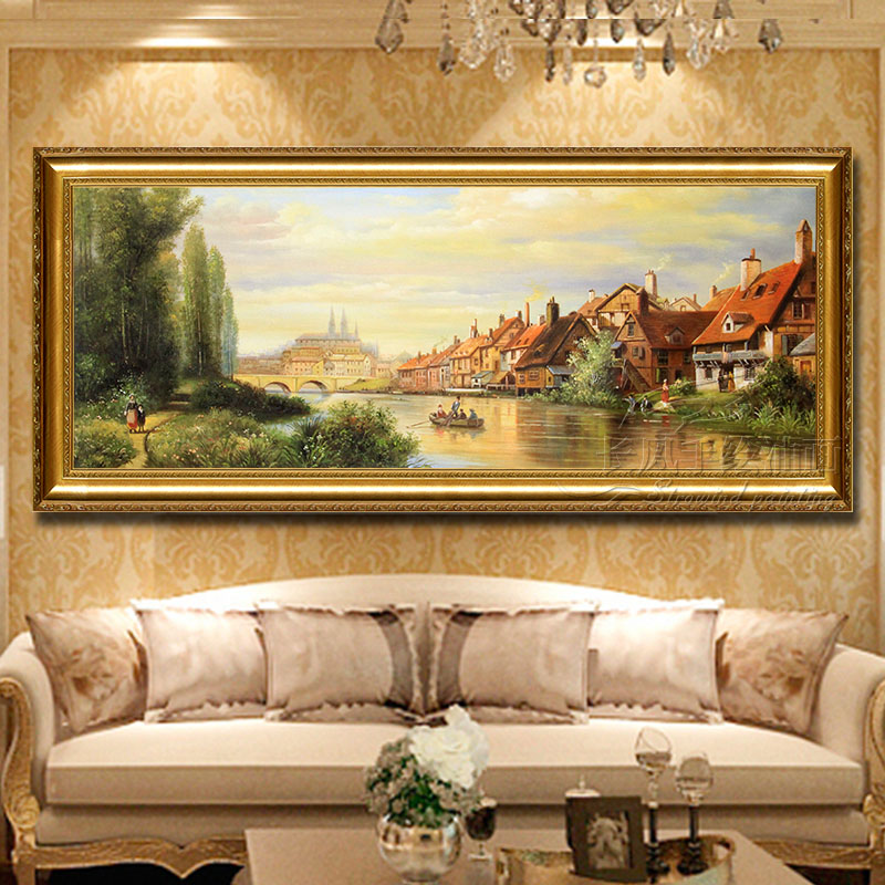 Hand Painted European Landscape Oil Painting Living Room Decoration Porch Corridor Background Wall Clical