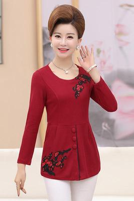 Middle-aged women's autumn bottoming shirt mother loaded sweater plus fat to increase long-sleeved round neck 40-50-year-old shirt