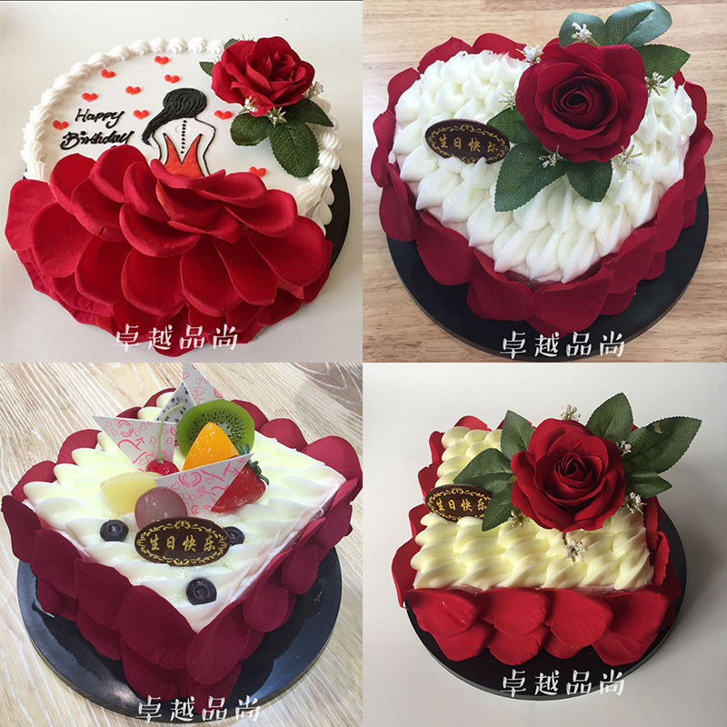 [USD 3.93] Excellence Cake Model New Heart-shaped Roses
