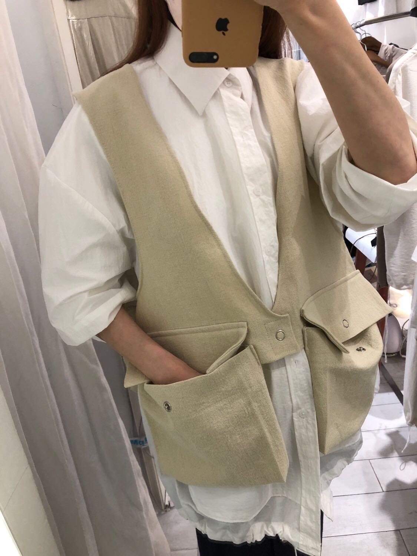 Hàn Quốc mua Dongdaemun nam phong cách mới kết cấu vải lanh túi lớn - Dệt kim Vest