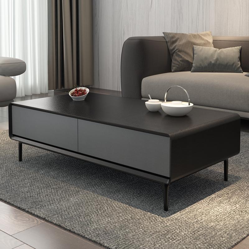 现代简约茶几 北欧长方形大小户型客厅黑灰色轻奢创意储物茶桌
