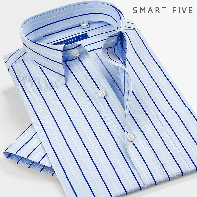 Mùa thứ năm kinh doanh bình thường mùa hè ăn mặc vuông màu xanh và trắng sọc cotton miễn phí ngắn tay áo sơ mi Mỏng nam áo sơ mi Áo