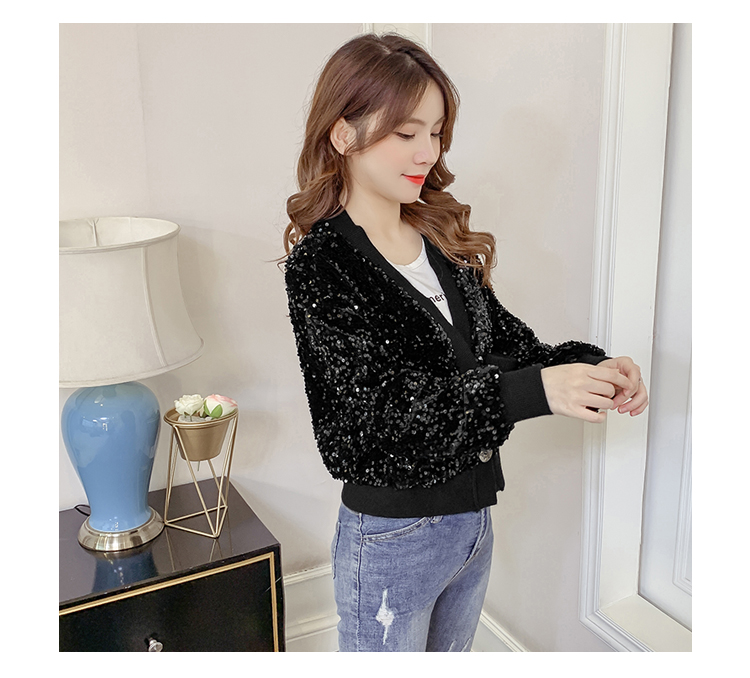 Autumn/Winter 2020 new Korean version of the fashion heavy nail sequin top loose show thin short line button jacket female tide 57 Online shopping Bangladesh