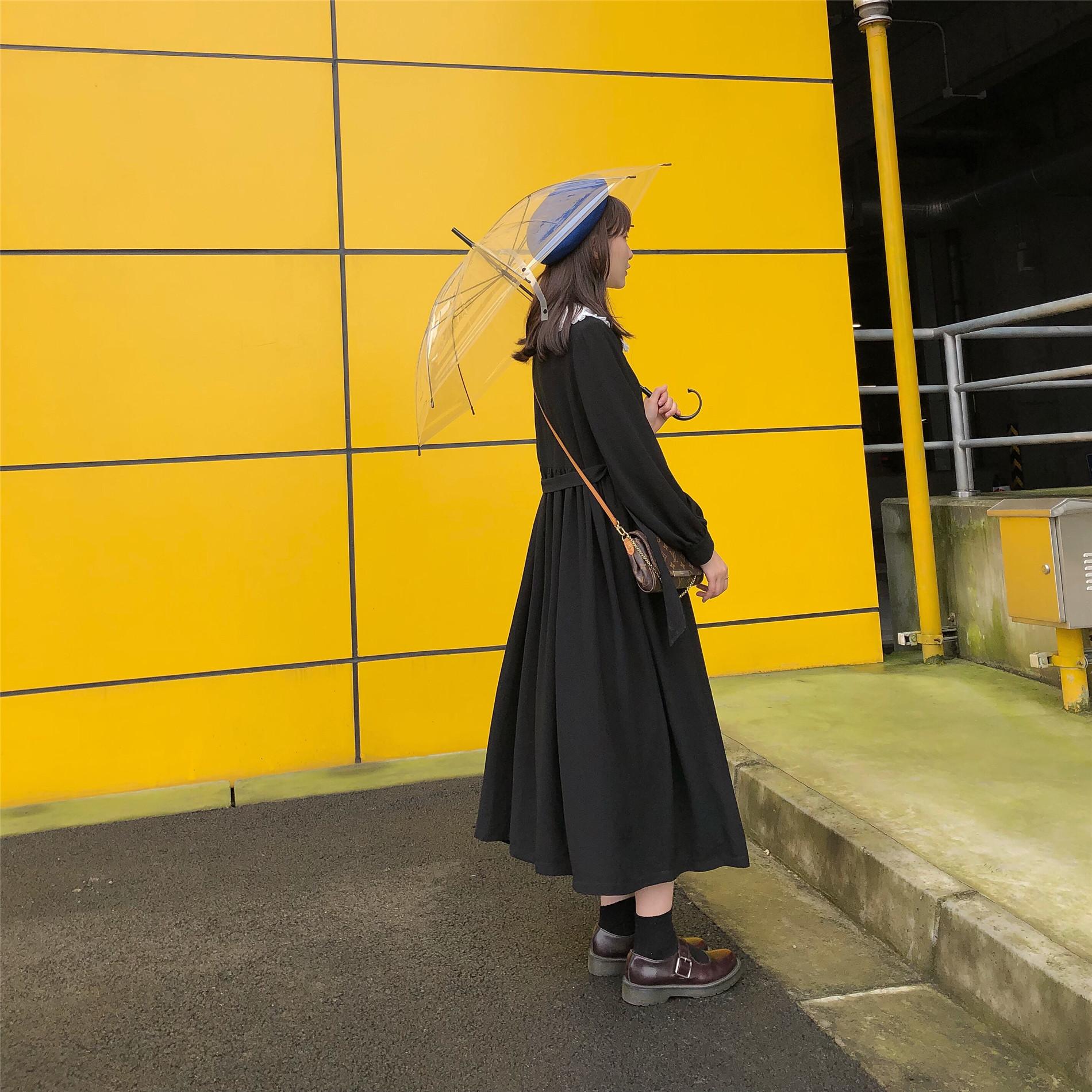 EGGSSHOP【8/10 домашнее】Удержание ~ осень-зима прогрессивный Тонкий шовный шнур винтаж Длинные и маленькие черный юбка