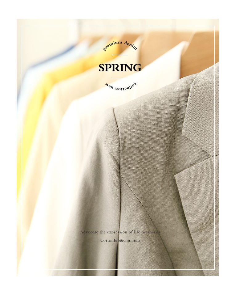 Đầu tiên bông nhỏ phù hợp với nữ 2018 mới bông và vải lanh blazer áo khoác mùa xuân và mùa thu bảy- điểm tay áo giản dị phù hợp với vải lanh