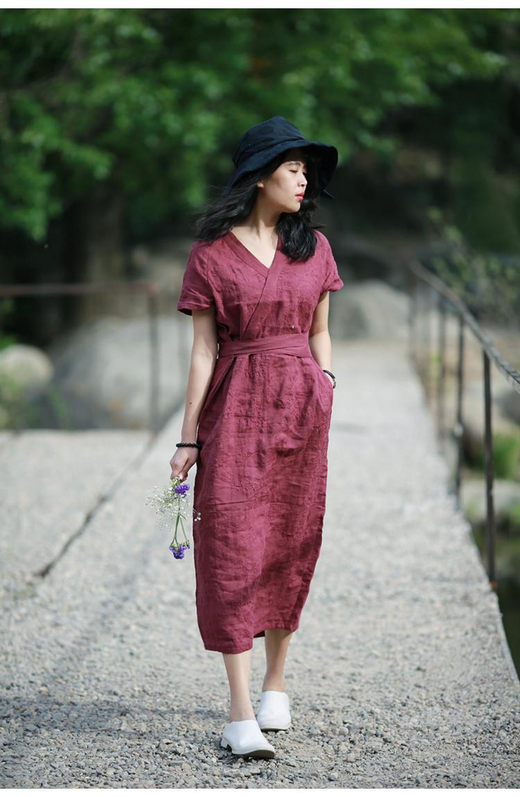 Tour Design gốc Trung Quốc phong cách Trung Quốc phong cách cổ áo thêu gai eo ngắn tay đầm