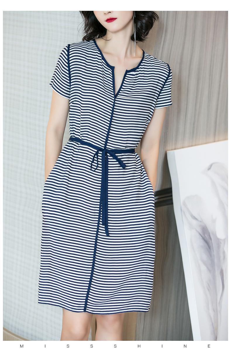 Meisi Yang 2018 mùa hè mới tính khí thanh lịch sọc tie eo mỏng thiết kế túi ngắn tay đầm