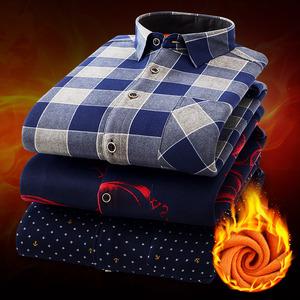秋冬季男士长袖加绒加厚保暖衬衫男修身格子印花商务休闲男装衬衣