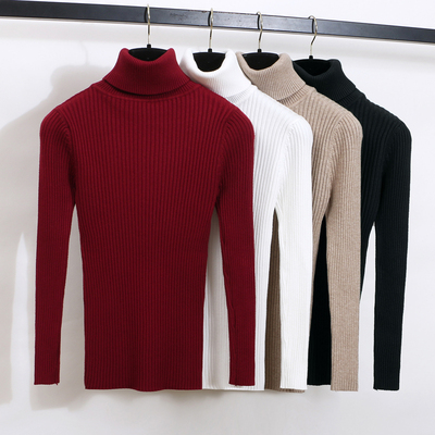 2017 autumn and winter high-necked pullover sweater women's simple solid color Slim thick warm knit underwear