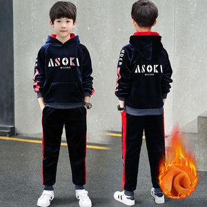 金丝绒套装儿童男童春秋卫衣两件套冬季男中大童运动女童2019秋装