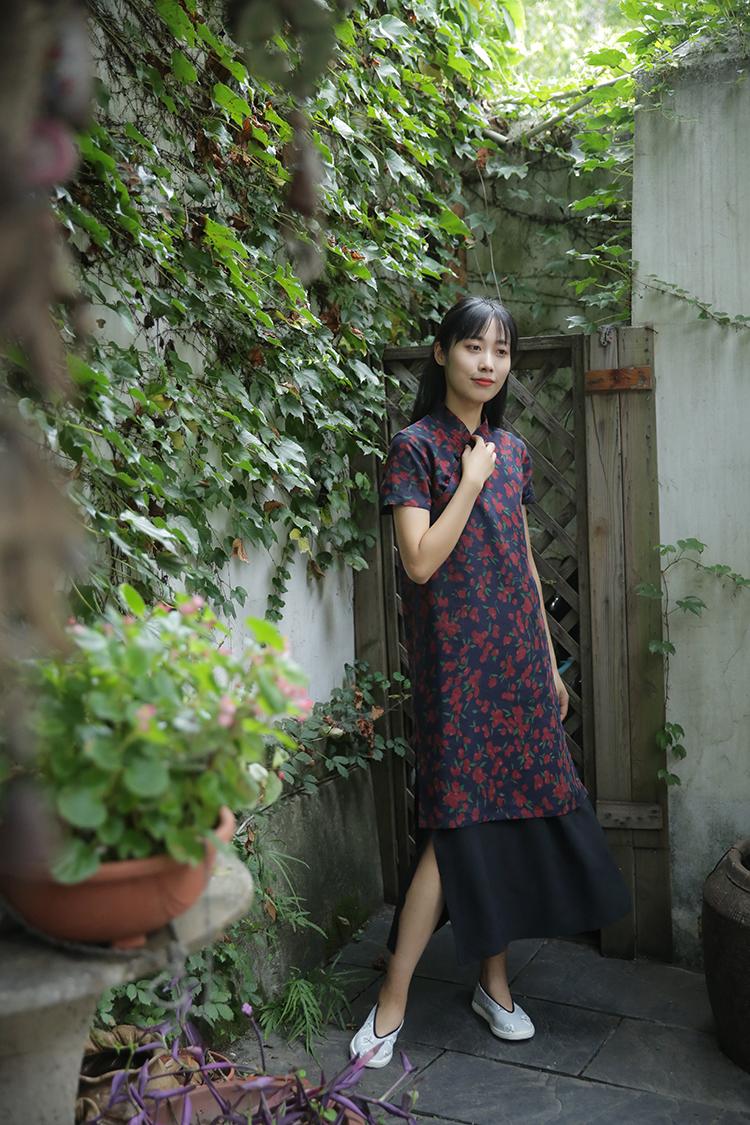 Lời cảm ơn của Green. 』Suishanji thiết kế ban đầu phong cách Trung Quốc cheongsam phần mỏng đầm lụa