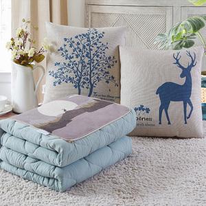 抱枕被子两用汽车载用纯棉午睡小靠枕头三合一折叠加厚全棉多功能