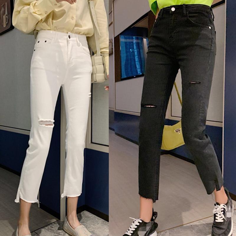 XSC Komatsu 20695 Quần jean châu Âu có lỗ thun co giãn nhỏ, quần trắng nữ hút thuốc 20696 - Quần jean