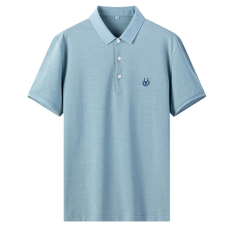 男士短袖父亲节衣服夏季透气翻领宽松polo衫中年爸爸夏装 T恤男