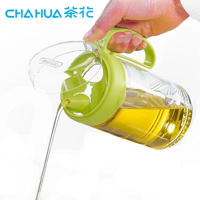 茶花油壶玻璃防漏厨房家用调味瓶酱油瓶醋瓶子套装大号小号装油罐