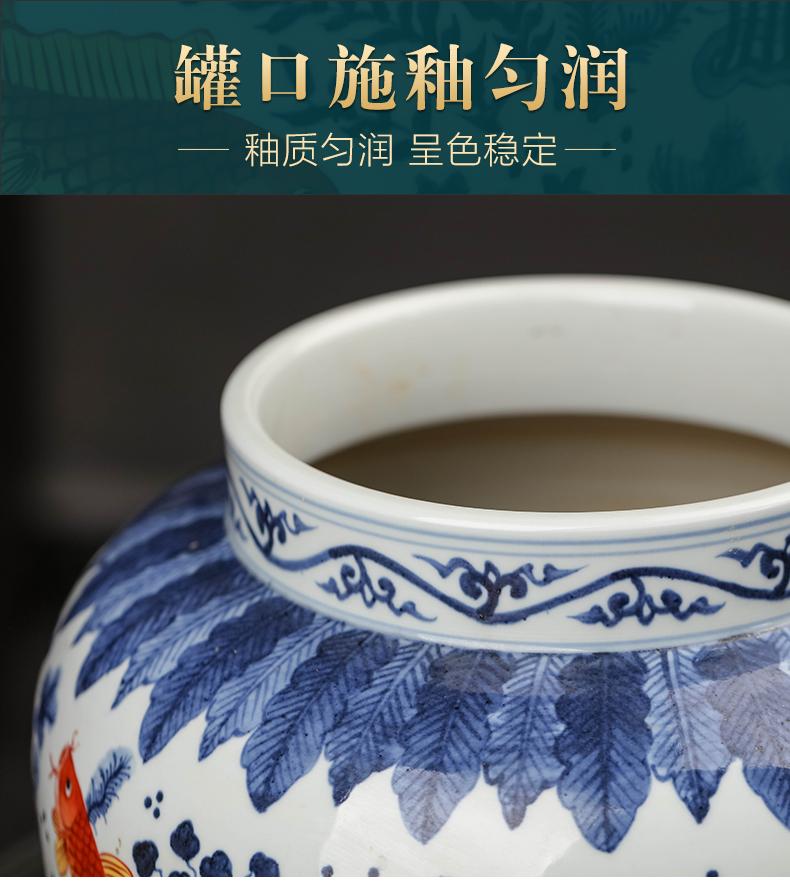 Jingdezhen ceramic tea pot antique blue - and - white general bucket color rich ancient frame furnishing articles sitting room snacks pot storage tank