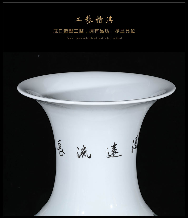 Jingdezhen ceramics new Chinese style of large vase sitting room hotel decor hand - made pastel furnishing articles written by famous experts