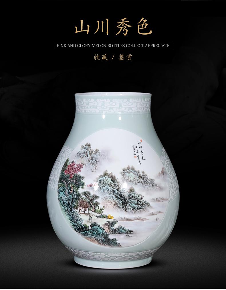 Jingdezhen ceramics powder enamel vase carved sitting room porch TV ark, desktop furnishing articles of Chinese style household ornaments